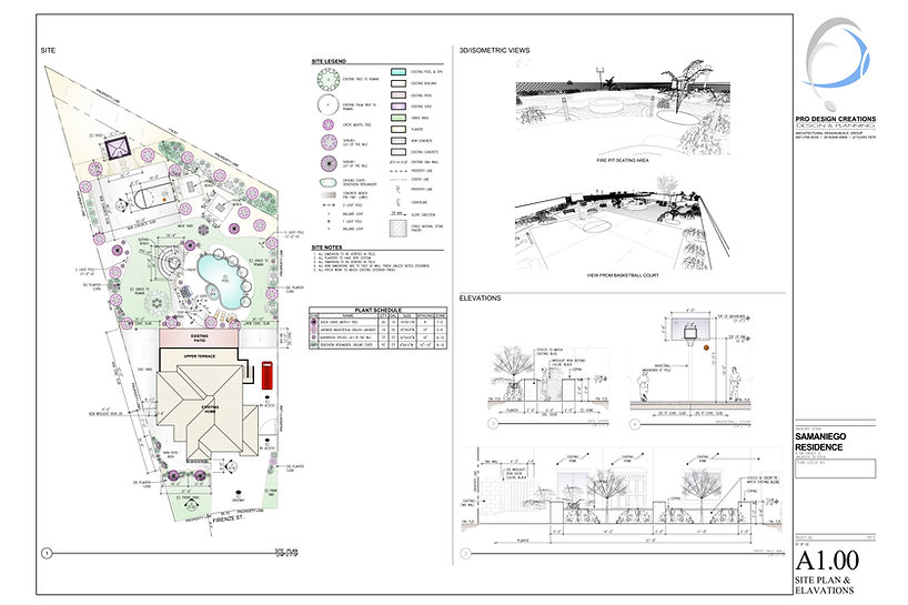 Landscape Design of Basketball Court Elevations and 3D Views