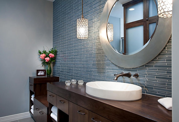Bathroom Glass Backsplash to the Ceiling Over the Counter Oval Sink with Wall Mounted Sink Faucte Spout