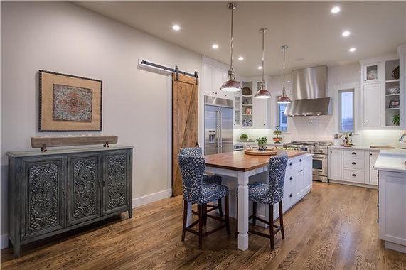 Modern Kitchen with a Barn Style Twist and Island and Eating Are