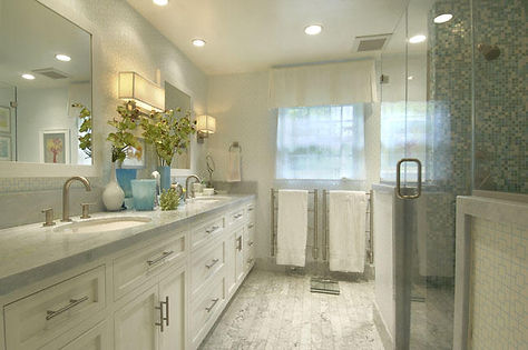 Bathroom Vintage & Modern Finishes Carrera Counters and Floor Tiles