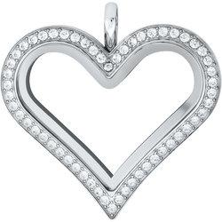 Heart Locket - Silver Crystal