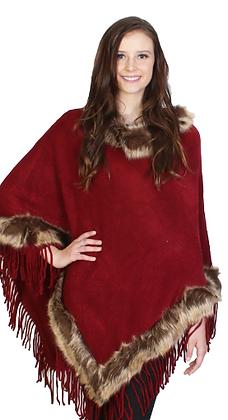 Elegant Faux Fur-Trimmed Fringe Poncho