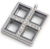 Locket - Silver Windowpane