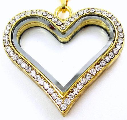 Heart Locket - Gold Crystal