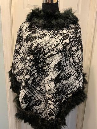 Fur-Trimmed Poncho