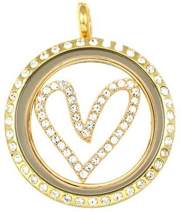 Locket - Gold Crystal Heart