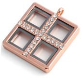 Locket - Rose Gold Windowpane