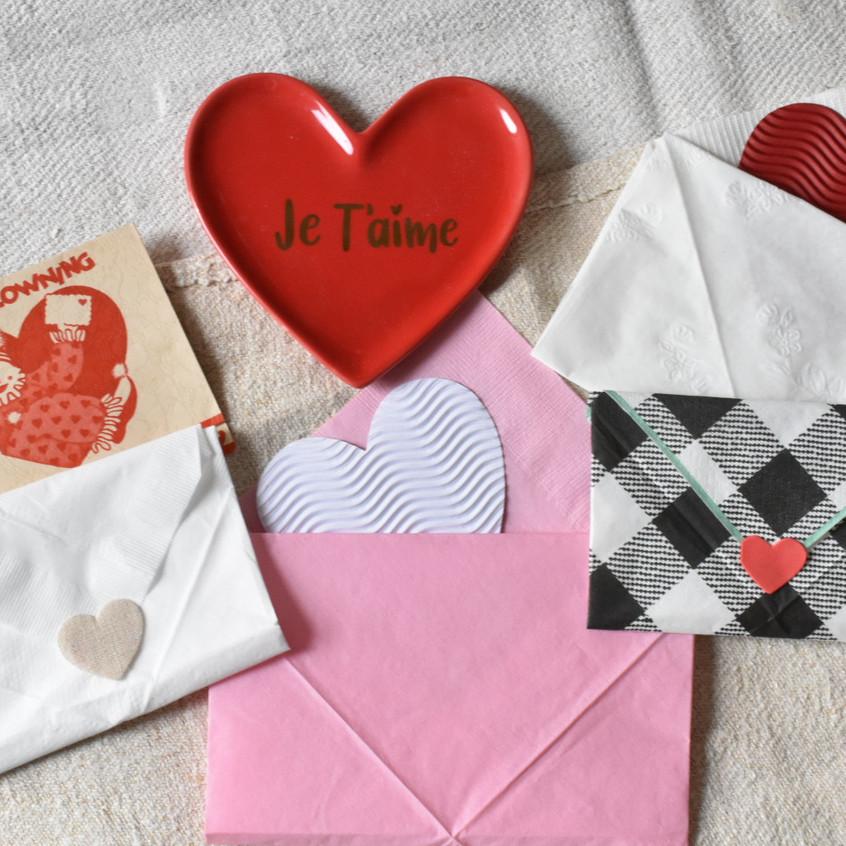 love letter envelope napkins