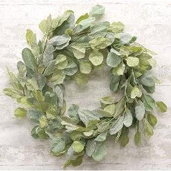 "Lambs Ear Greenery Wreath 24"""