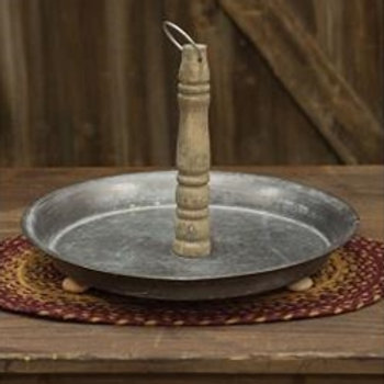 """Footed Tin Platter w/Wood Handle, 15"""""""