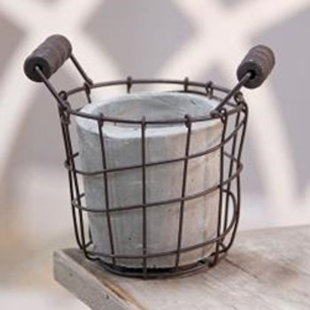 Cement Pot with Metal Holder