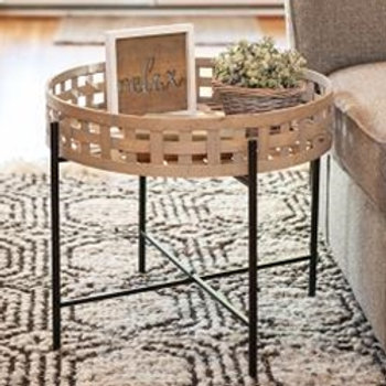 Round Woven Basket Table