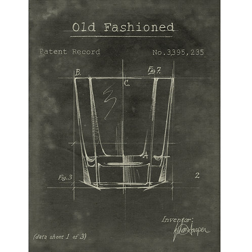 Barware Old Fashioned Fabric Gallery Wrapped Wall Art