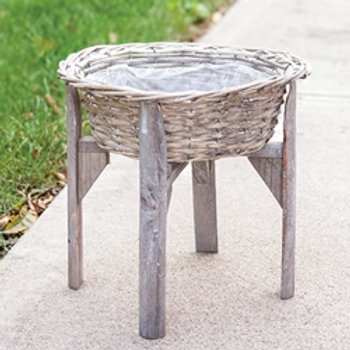 Grey Willow Basket on Foldable Stand