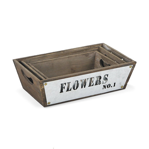"Wood Bins with ""Flowers"" Label S/#"