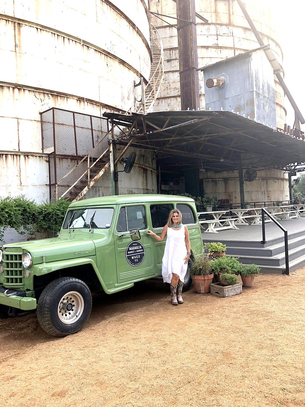 The famous Magnolia green car