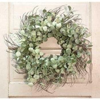"Silver Drop Eucalyptus Twig Wreath 24"""