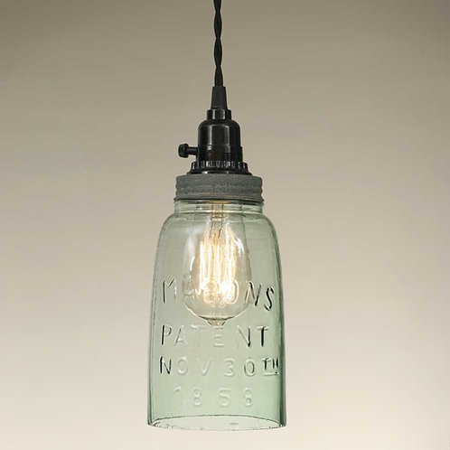Farmhouse Half Gallon Open Bottom Mason Jar Pendant Lamp - Barn Roof
