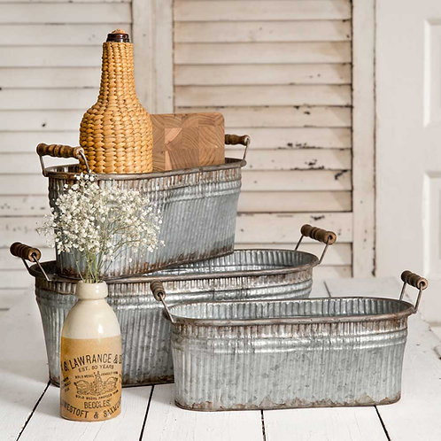 Nesting Rustic Bins with Wood Handles