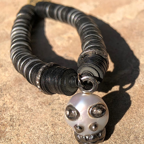 PEARL AND DIAMOND SKULL BRACELET