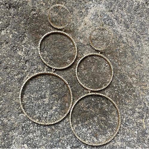 Triple Ring Diamond gold vermeil earrings