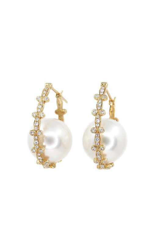 Diamond Pearl 14kt gold earrings