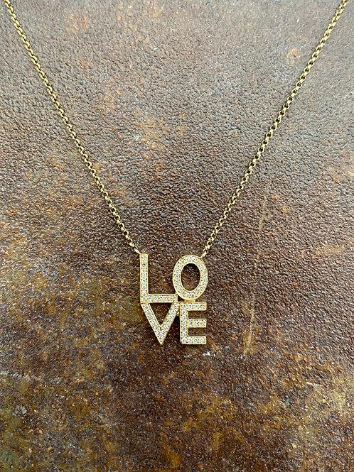 LOVE Diamond &  14kt gold Necklace