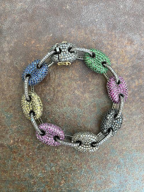 Multi Colored Sapphire & Diamond Link Bracelet
