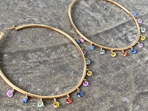 Sapphire Multi colored Sapphire & Diamond Hoop 14kt gold earrings