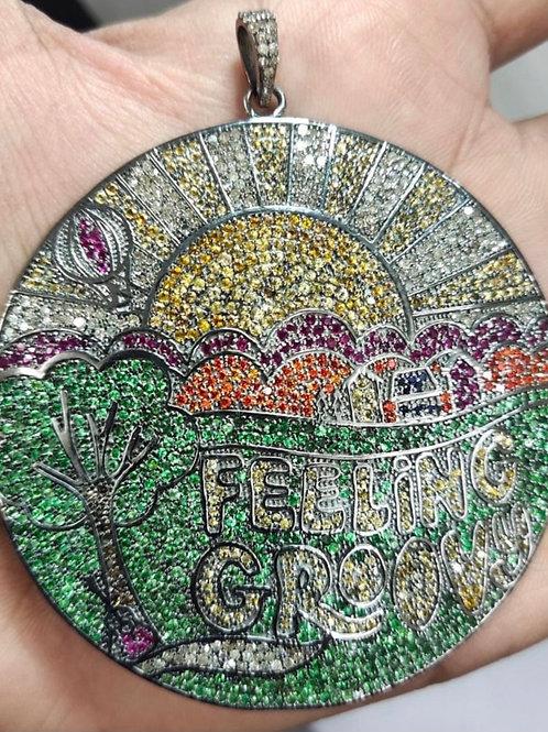 FEELING GROOVY Sapphire & Diamond Pendant