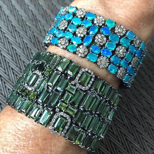 Green Tourmaline & Diamond Bracelet