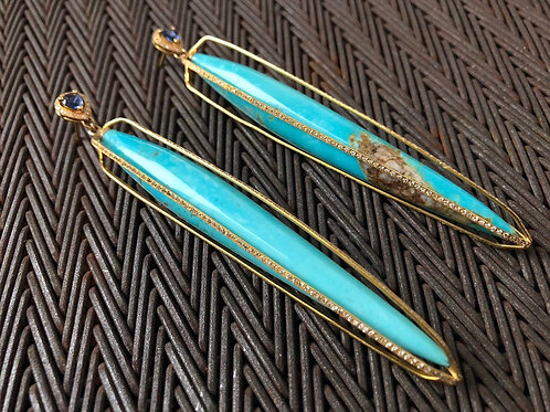 Turquoise Diamond & Blue Saffire 18kt Gold earrings
