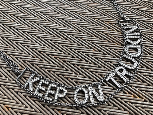KEEP ON TRUCKIN with diamonds necklace