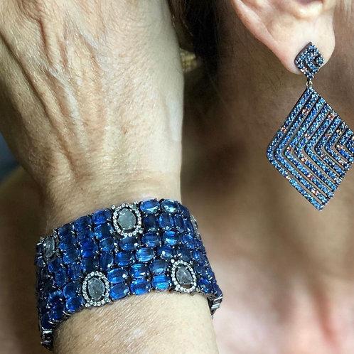 Diamond & Blue Sapphire Bracelet