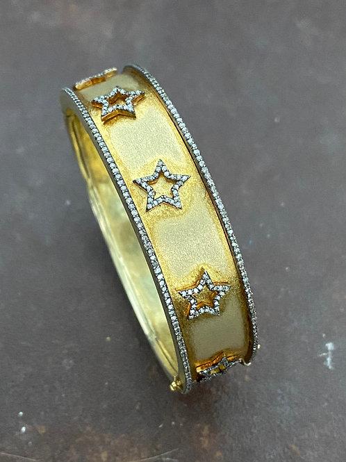 STARS  diamonds &  gold vermeil bangle