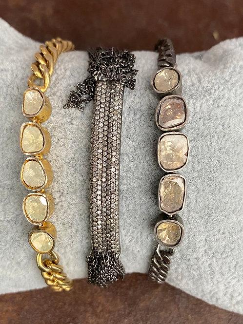 Rose cut diamond link Bracelet