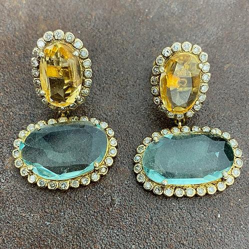 Diamond & Fluorite Citrine Gold Vermeil  Earrings