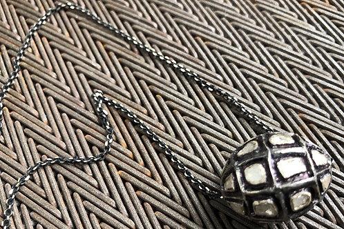 Rose cut diamond bead necklace
