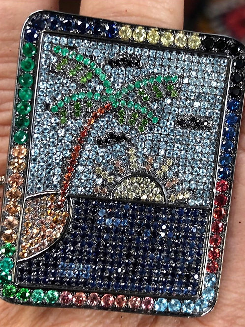 sland ring, black diamonds, multi colored sapphires, silver ring