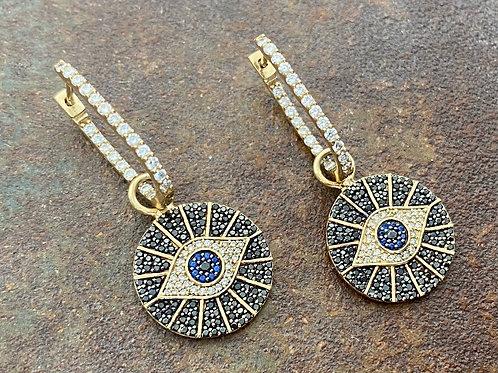 Evil Eye Ear Charm & Diamond 14kt gold earrings