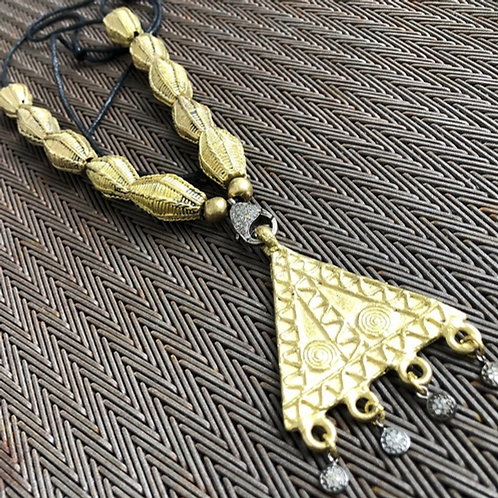 TRIANGLE diamond  pendant  with brass beads
