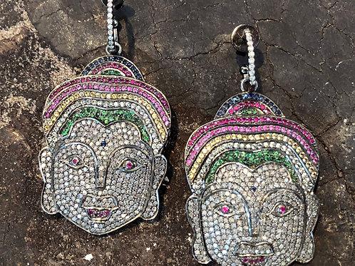 Buddha Diamond & Multi Sapphire Earrings