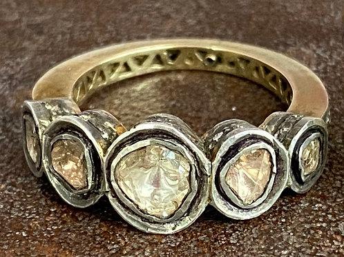 Rosecut diamonds, diamonds and silver ring