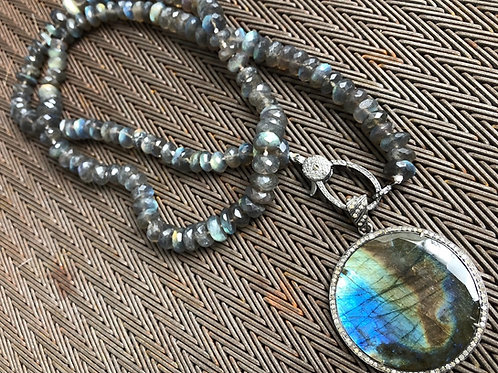 Labradorite, diamonds, silver pendant