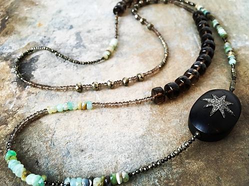 Diamond & Turquoise Wood Pyrite Necklace