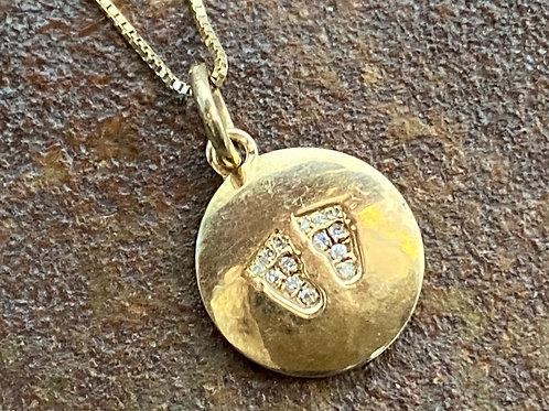 Baby Feet Diamond & Gold 14kt Charm
