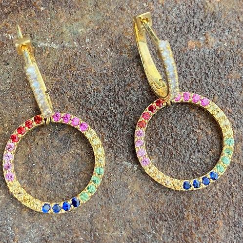 DIAMONDS  & MULTI COLORED SAPPHIRES  EARRING