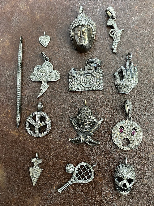 Silver & Diamond silver Charm