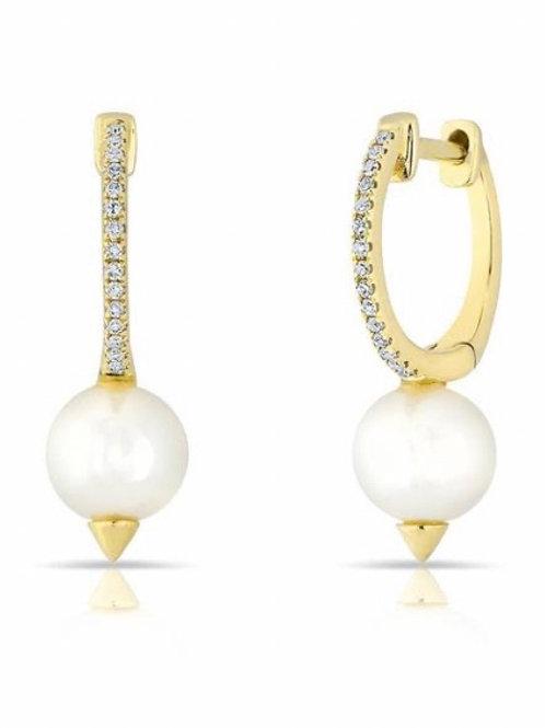 Diamond Pearl Spike 14kt gold earrings