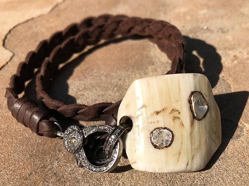 Horn & Diamond Woven Leather Bracelet